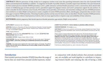 Prevention of Fetal Alcohol Spectrum Disorder: Current Canadian Efforts and Analysis of Gaps